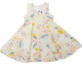 Wild Flower Twirl Dress Twirly Dress Summer Dress Toddler Dress Child Dress Baby Dress Girl Twirl Dress Pink Yellow Floral Wispy Daybreak