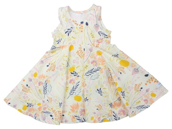 Wild Flower Twirl Dress Twirly Dress Summer Dress Toddler Dress Child Dress Baby Dress Girl Twirl Dress Pink Yellow Floral Wispy Daybreak
