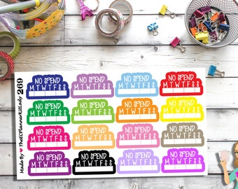 269- 270 (No Spend Sticker Set) No Spend, Money, Mini Sticker Set, Planner Sticker, Kiss Cut Stickers, Filo Fax, Erin Condren, Plum Planner