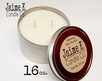 Floral Scented  16 Oz. Scented Soy Candle In A Tin Dye Free