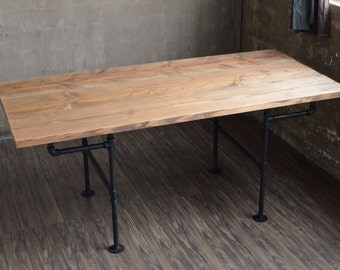 Modern Industrial Dining Room Kitchen Table -- Iron Pipe