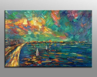 Seascape Painting, Abstract Painting, Abstract Canvas Painting, Wall Decor, Wall Art, Contemporary Art, Abstract Canvas Art, Oil Painting