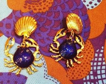 Gold Crab Earrings Etsy