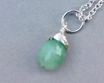 Natural Emerald Pendant, Emerald Necklace, Emerald Briolette, May birthstone, sterling silver, gold filled, natural gemstone