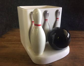 Vintage Lefton bowling ball pin planter