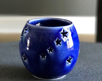 Handmade pottery votive tea-light luminary candle holder hand carved design indoor outdoor display decor Haight Pottery Company