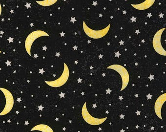 Crescent Moons & Stars-Black B/G-Glow In The Dark-BTY-Timeless Treasures