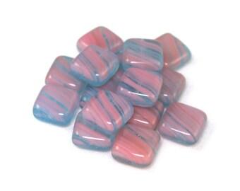 De-stash Pink opaque aqua blue transparent 10mm square tile beads. Set of 16.