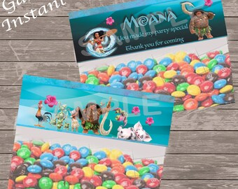 Moana party bag favors, Moana party bag toppers  - Moana instant download bag toppers - Just print, cut and staple onto sandwich bag