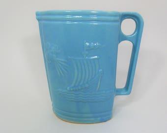 Vintage RRP Robinson Ransbottom Zephyr And Viking Ceramic Pitcher, Blue