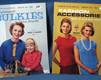 Vintage Coats and Clarks Knitting and Crochet Booklets - Set of two - 1960s