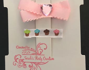 Heart and Cupcake Hair Clip Set