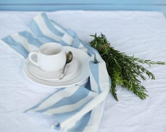 LIMITED EDITION Handmade white/blue striped linen tea towels inspired of living by the Sea