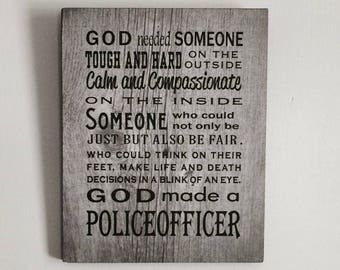 God Made Police Officer Wood Sign, Canvas, Photo Clip Frame Thin Blue Line, Law Enforcement, Police, Christmas, Graduation
