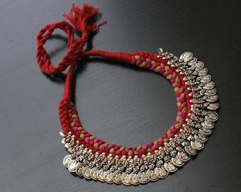 Thread Necklace with handmade tassel, Ethnic, Traditional, Rabari Necklace, Tribal Necklace, Thread Necklace