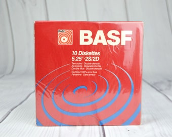 """Pack of 10 BASF  5.25"""" 2S/2D Computer Floppy Diskettes Sealed"""
