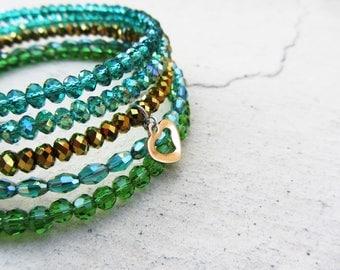 GREEN WRAP BRACELET, crystal memory wrap bracelet, beaded coil bracelet, heart pendant, wire wrap jewelry, boho bracelet, gift for her