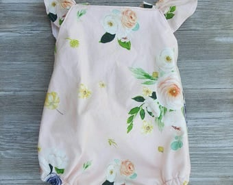 Floral baby romper, cross back, with or without ruffled bottom, other colors available