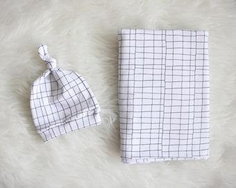 White and Black Grid Swaddle Blanket /  Grid Monochrome Swaddle Blanket / Recieving Blanket