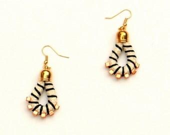 Rope Earrings, Fabric Earrings, Cord Earrings, Textile Earrings, Boho Earrings, Drop Earrings, Fiber Earrings, Dangle Earrings