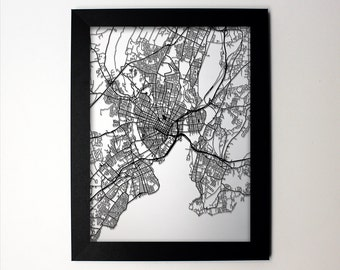 New Haven Map / Laser Cut Map / New Haven CT / New Haven Art / New Haven Connecticut / Framed Map / Wedding Gift / Anniversary Gift / Office