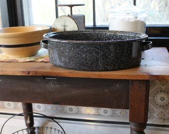 Large Black Enamelware Roasting Pan, Black Graniteware Roasting Pan, Black Graniteware Roaster, Graniteware Bakeware, Oval Baking Pan