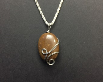 Wire Wrapped Oval Chocolate Brown Stone Necklace