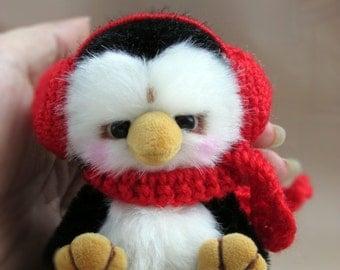 Toy penguin animals handmade artist bear OOAK