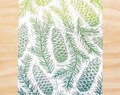 """Pinecone Woodblock Print """"Spruced"""" Norway Spruce RACVB Rockford"""