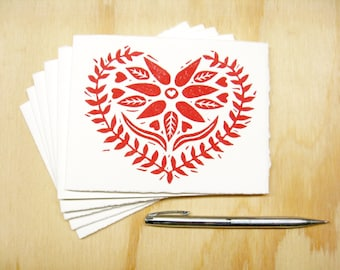Red Heart Christmas Cards - Set of 6 Block Printed Cards - Swedish Heart - Send Love - READY TO SHIP