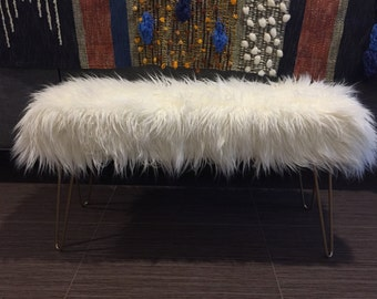 Made to Order// Custom Mongolian Off White Faux Fur Bench with Hairpin legs