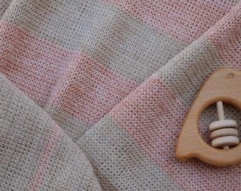 Striped Merino Baby Blanket - Soft Pink