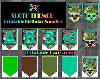 Printable Sloth Birthday Party Supplies | Sloth Decorations