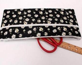 Sale! X large Daisy Pencil case/ Makeup Bag 32cmx15cm  With Two Pockets,
