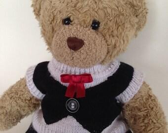 "Teddy Bear Tuxedo - A Knitted Teddy Bear Outfit for 14"" - 15"" Bears. Hand-knit Teddy Bear Clothes. Black and White Teddy Bear Outfit"