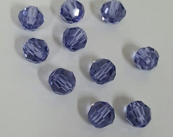 Swarovski 6mm Round (5000) Faceted Crystal Beads - TANZANITE AB x 10 Beads
