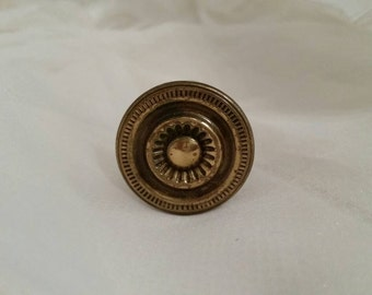 """5 Available! Original French Vanity Desk Drawer Knobs Aged Vintage Gold Bronze Handle Dainty 1"""" diameter"""