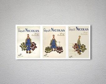 Depot Nicolas Vintage Fines Bouteilles Vintage Food & Drink Poster - Poster Print, Sticker or Canvas Print / Gift Idea