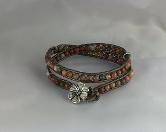 Double-wrap lLather & Bead Bracelet