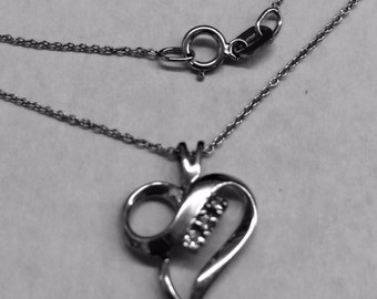 """Gorgeous/dainty heart diamond  pendant with 16""""  chain; 14k white gold; 15 CTW; gift for her"""