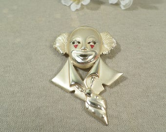 Beautiful Vintage Gold Tone Clown Brooch With Red Enamel  DL#2603