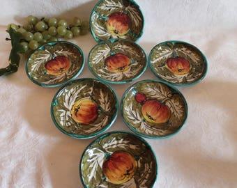 "Set of 7 Italian Ceramic 4.5"" Coasters or Mini Appetizer Plates - Hand Painted Fruit"