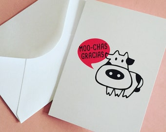 Thank You Cow Card, Muchas Gracias Card, Animal Pun Blank Card, Spanish Card, Card For Cow Lover