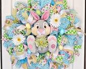Thumper with Daisy Wreath, Easter Wreath, Easter Bunny Wreath