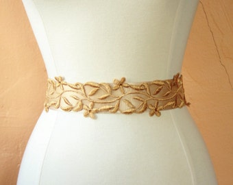 Wide Gold Lace Bridal Sash