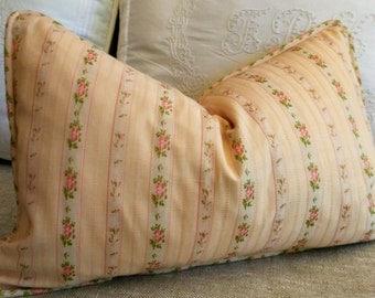 Pink and Green Floral Pillow Cover Lumbar Blush Pink 13x20 13x22