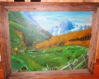 Vintage Oil On Board/ Unsigned/ Trees/ Mountain/ Primative Wood Frame