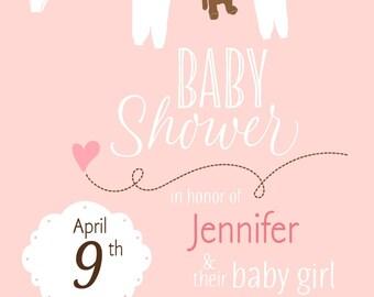 New born girl invitation printable card