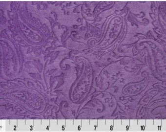 Shannon Cuddle Down Minky Embossed Paisley Violet  DR 127544 Half Yard Cut and Yardage Available