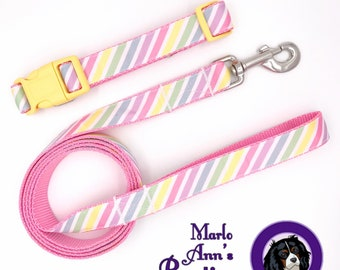 Dog Collar / Pastel Dog Collar / Spring Dog Collar / Stripes / Pink / Blue / Yellow / Green / Purple / Dog Collar and Leash Set / Easter